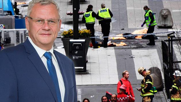 """ÖVP-Landesparteiobmann Thomas Steiner und 20 Mitreisende erlebten Stockholm-Terror """"hautnah"""". (Bild: AFP, BMI)"""