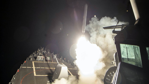 "Vom US-Zerstörer ""USS Ross"" aus wurden Tomahawk-Raketen abgefeuert. (Bild: AP)"