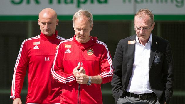 Amtsantritt: Djuricin (links) und Bernhard (Mitte) sollen's richten. Bickel vertraut ihnen. (Bild: APA/GEORG HOCHMUTH)