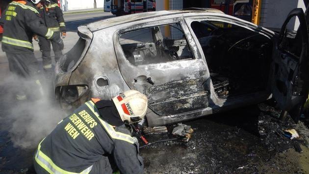 Das Auto brannte aus, nachdem sich der Lenker in Sicherheit brachte. (Bild: MA 68 Lichtbildstelle)