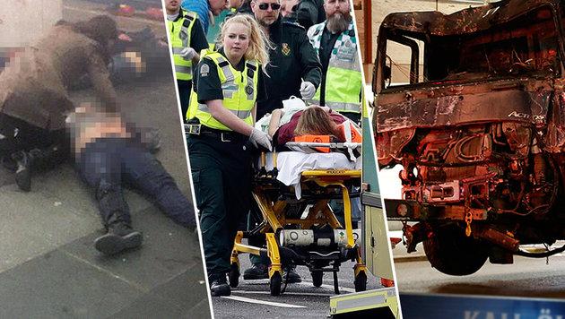 Innerhalb von drei Wochen: blutige Anschläge in St. Petersburg, London und Stockholm (von links) (Bild: twitter.com, AP)
