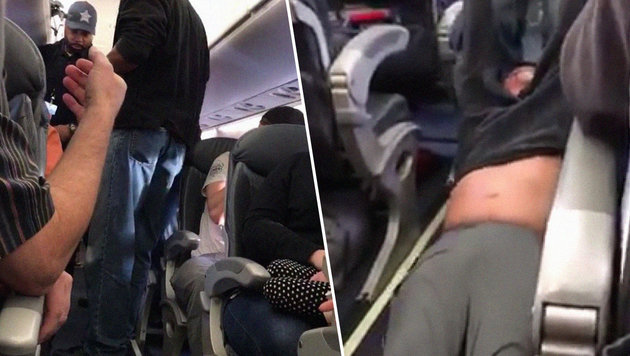 US-Airline lässt Passagier brutal aus Jet zerren (Bild: facebook.com)