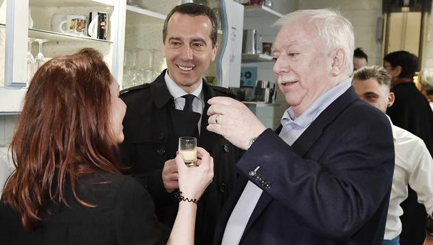 Kern und Häupl üben schon für den SPÖ-Wahlkampf (Bild: APA/HANS KLAUS TECHT)