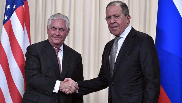 Tillerson und Lawrow in Moskau (Bild: AFP)