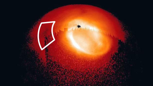 Der Großen Roten Fleck befindet sich innerhalb der weißen Markierung. (Bild: University of Leicester, krone.at)