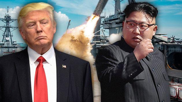 Drohen einander seit Wochen: US-Präsident Trump und Nordkoreas Diktator Kim (Bild: U.S. Department of Defense, AP, AFP)