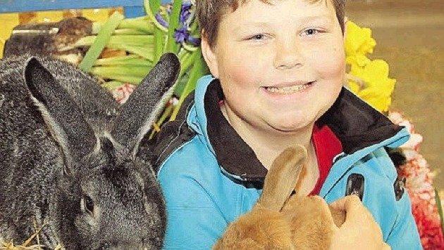 Tobias (12) aus Obertrum kümmert sich um seine Haserl. (Bild: Sabine Salzmann)