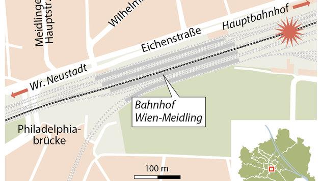 Bahnhof Meidling: Neun Verletzte bei Zugskollision (Bild: APA)