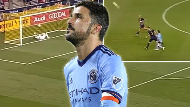 Überragend! David Villa lässt Fußball-Welt staunen (Bild: YouTube.com, APA/AFP/Alex Menendez)