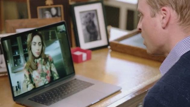 Prinz William plaudert mit Lady Gaga via Bildtelefonie über psychische Erkrankungen. (Bild: facebook.com/Kensington Palace)