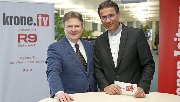 Michael Ludwig mit krone.tv-Moderator Gerhard Koller (Bild: Reinhard Holl)
