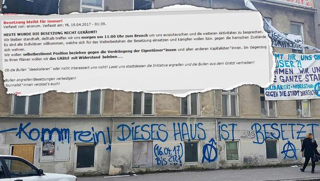 """Gebäude leer: """"Besetzer"""" narrten Wiener Polizei (Bild: APA/HERBERT P. OCZERET)"""