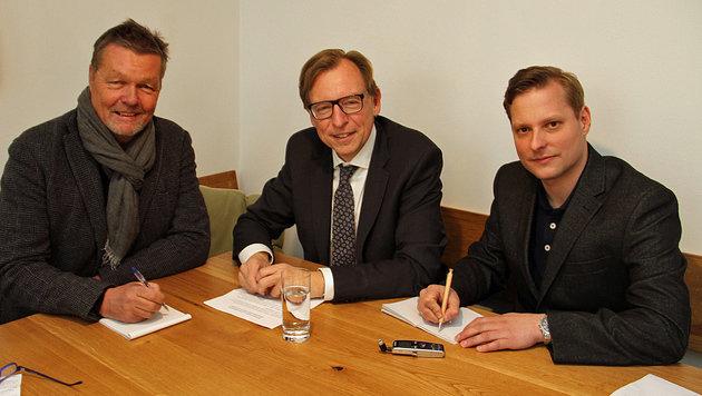 Christian Buchmann im Interview mit Gerhard Felbinger und Gerald Schwaiger (Bild: Christian Jauschowetz)