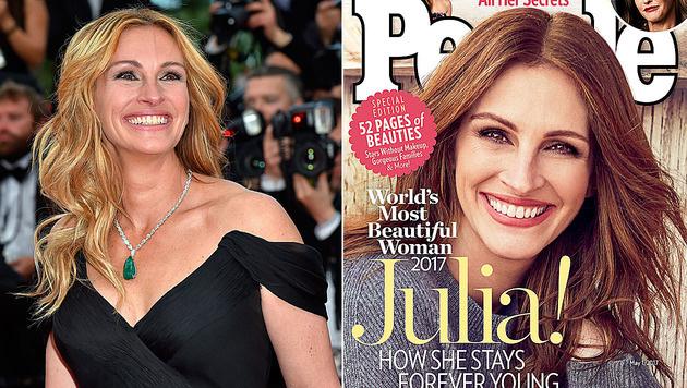 """Julia Roberts wurde vom """"People""""-Magazin zur """"Schönsten Frau der Welt"""" gekürt. (Bild: AFP, People)"""