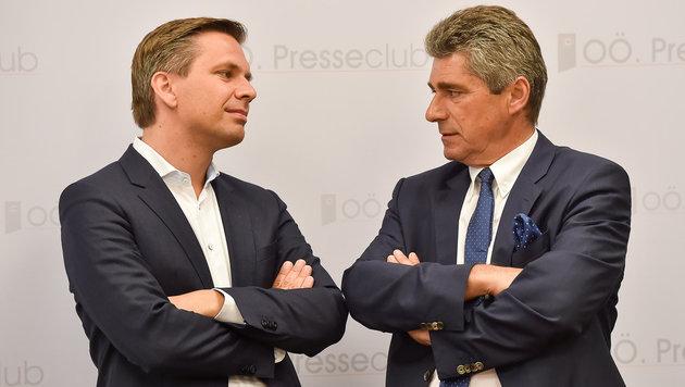 Wolfgang Hattmannsdorfer (ÖVP) und Herwig Mahr (FPÖ) sprechen neues Leitbild ab (Bild: Harald Dostal 2016)