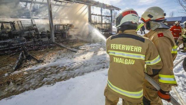 60 Feuerwehrmänner versuchten am 30.1. vergeblich, etwas von der Maschinenhalle in Thalgau zu retten (Bild: Markus Tschepp)