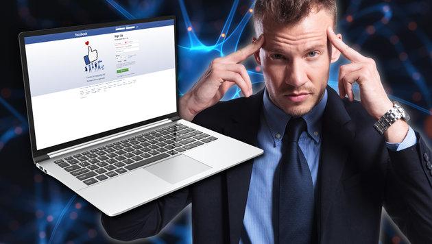 "Facebook-Nutzer sollen künftig per Gehirn ""tippen"" (Bild: facebook.com, thinkstockphotos.de)"