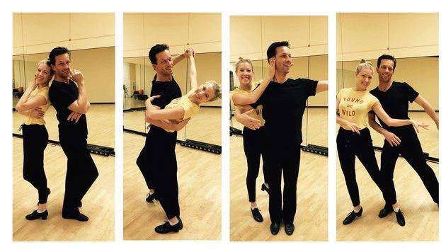 """Maria Santner und Martin Ferdiny beim Training für die heutige """"Dancing Stars""""-Show. (Bild: Maria Santner)"""