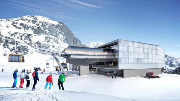 Die Eisgratbahn am Stubaier Gletscher (Bild: Stubaier Gletscher/renderwerk.at)