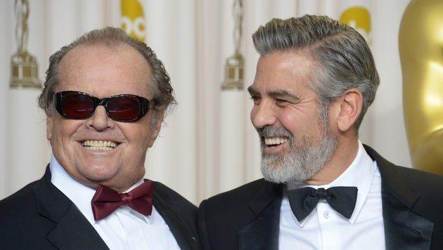 Jack Nicholson und George Clooney bei der Oscar-Verleihung 2013. (Bild: AFP)