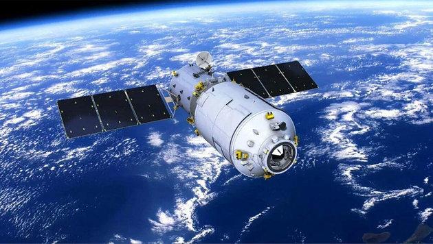 """Frachter """"Tianzhou-1"""" auf dem Weg zum Raummodul """"Tiangong 2"""" (Bild: China Manned Space Agency)"""