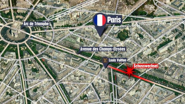Champs-Elysees: Hier liefen Menschen um ihr Leben (Bild: Bing)