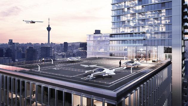 Der Senkrechtstarter könnte theoretisch sogar direkt auf den Dächern von Hochhäusern landen. (Bild: Lilium Jet)