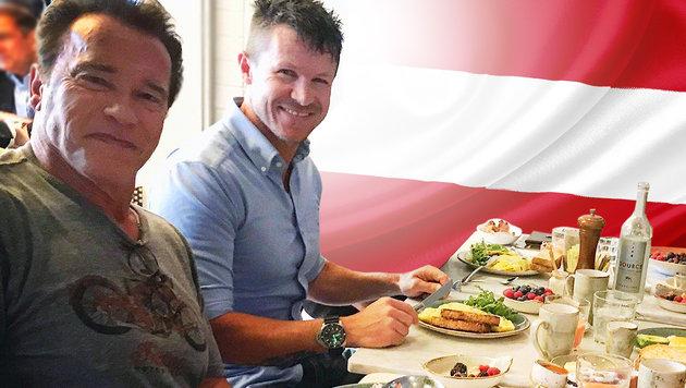 Arnold Schwarzenegger, Felix Baumgartner (Bild: facebook.com, thinkstockphotos.de)