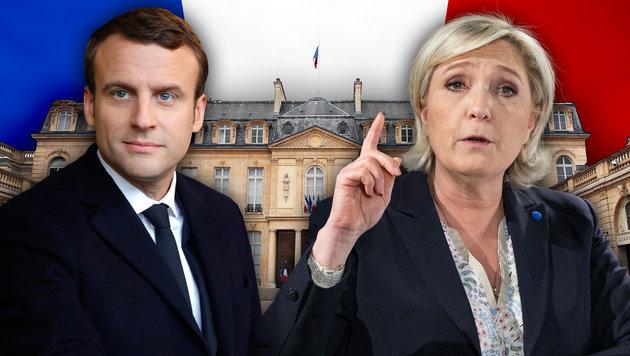 Macron knapp vor Le Pen in Präsidenten-Stichwahl (Bild: AP/Philippe Wojazer, AP/Kamil Zihnioglu, AP/Christophe Ena)