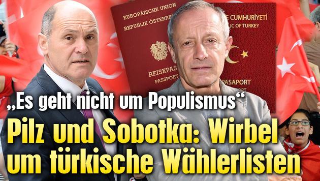 Pilz und Sobotka: Wirbel um türkische Wählerlisten (Bild: APA, EPA, Uta Rosjek-Wiedergut)
