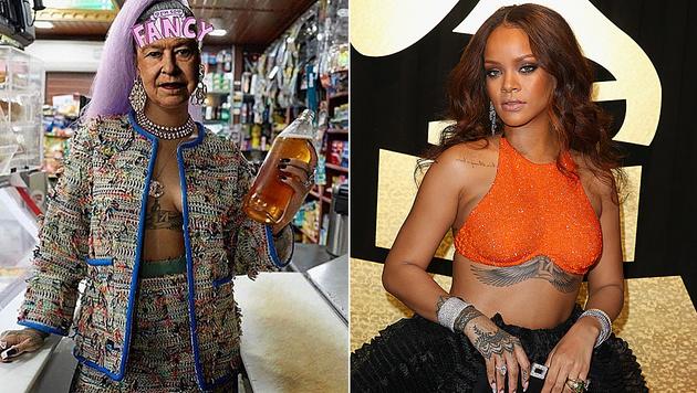 Rihanna sorgte mit Foto-Collagen von sich und der Queen für einen Shitstorm. (Bild: instagram.com/badgalriri, GETTY IMAGES NORTH AMERICA)