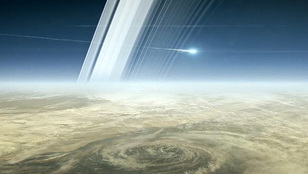 """Künstlerische Illustration des Endes der Raumsonde """"Cassini"""" (Bild: NASA/JPL-Caltech)"""