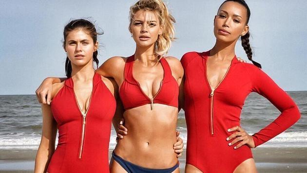 Alexandra Daddario, Kelly Rohrbach und Ilfenesh Hadera sind die neuen Rettungsschwimmerinnen. (Bild: CapFSD/face to face)