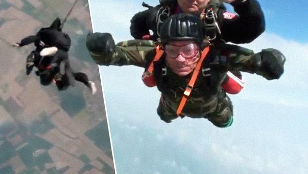 Mann (96) macht seinen letzten Fallschirmsprung (Bild: YouTube.com)