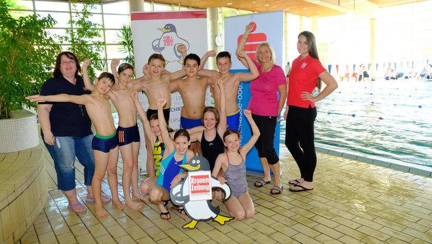 Beim Pinguin-Cup der Stadt Linz freute sich die 4a der PVS Kreuzschwesternschule über den Sieg. (Bild: Horst Einšder)