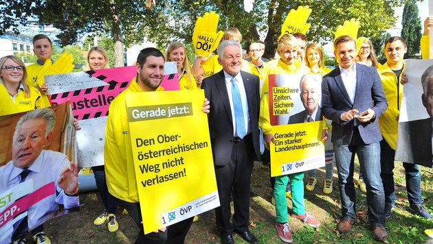 Ein Schnappschuss aus dem aufwändigen ÖVP-Wahlkampf für/mit Josef Pühringer 2015 (Bild: Horst Einšder)