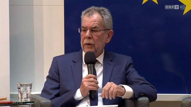 Bundespräsident Van der Bellen während der Diskussionsveranstaltung im Haus der Europäischen Union (Bild: tvthek.orf.at)