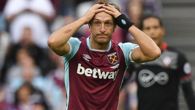 Zum Haareraufen findet das West-Ham-Kicker Mark Noble! (Bild: AFP)