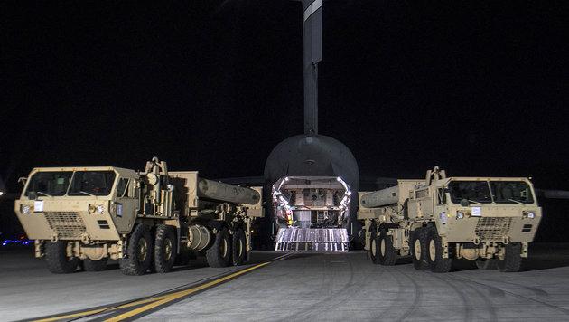Erste Teile von THAAD trafen am 7. März 2016 auf der Osan US Air Base in Südkorea ein. (Bild: AFP/US Forces Korea)