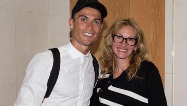Hollywood-Star trifft auf Fussball-Star. Julia Roberts mit Cristiano Ronaldo. (Bild: instagram.com/CristianoRonaldo)