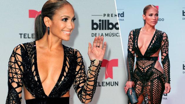 Jennifer Lopez zeigt im sexy Nacktkleid fast alles (Bild: AP, AFP)