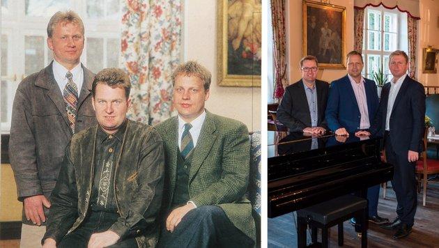 Martin, Alfred und Anton Gallistl (v. l.) im Jahre 1997. - Alfred, Anton und Martin (v.l.) heute. (Bild: Peter Pauer (2))