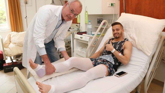 Alles gut bei Venuto: Der im Derby schwer verletzte Austrianer wurde von Klubarzt Kmen operiert. (Bild: Gerhard Gradwohl)
