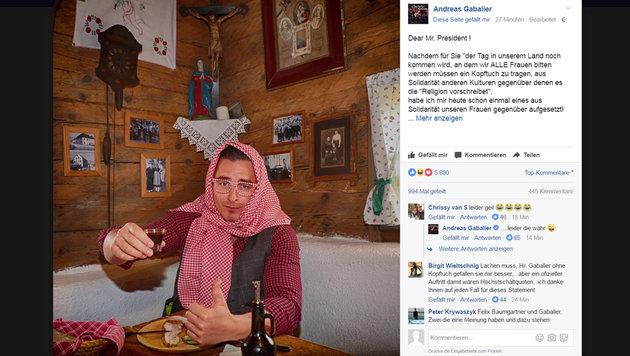 "Andreas Gabalier trägt Kopftuch aus ""Solidarität"" (Bild: Sepp Pail, Screenshot facebook.com)"