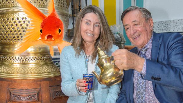 """Richard Lugner und sein """"Goldfisch"""" - wie klingt denn das? (Bild: Viennareport, thinkstockphotos.de)"""