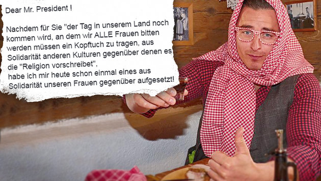 Andreas Gabalier posiert mit Kopftuch und Kernöl-Stamperl. (Bild: Sepp Pail, Screenshot facebook.com)