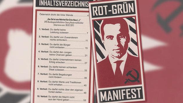 Titelbild und Inhaltsverzeichnis des Rot-Grün-Manifestes (Bild: Martin Kriegel,Krone)
