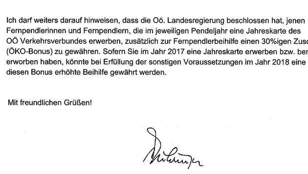 Ein aktueller Brief mit der Unterschrift Pühringers, der längst nicht mehr Landeshauptmann ist. (Bild: Werner Pöchinger)