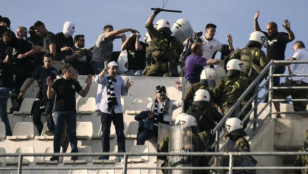 Schwere Randale vor griechischem Cup-Finale (Bild: AP)