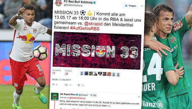 Twitter-Battle! Red Bull Salzburg provoziert Rapid (Bild: GEPA, twitter.com)